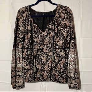 Lucky brand boho print long sleeve blouse